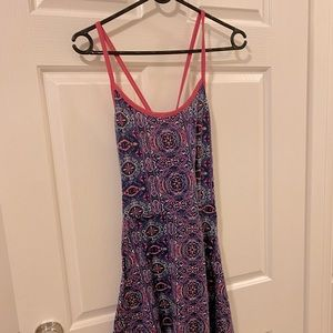 Free Summer Mixed Pattern Cross back Flare Dress